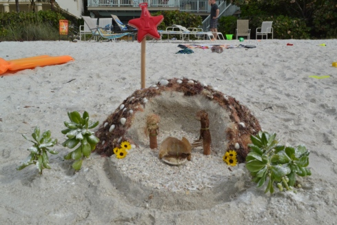 Sand-sculpted nativity scene spotted on the beach on Christmas Day